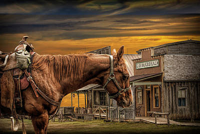 Photograph - Cowboy Saddle Horse In Front Of The Marshall's Office by Randall Nyhof