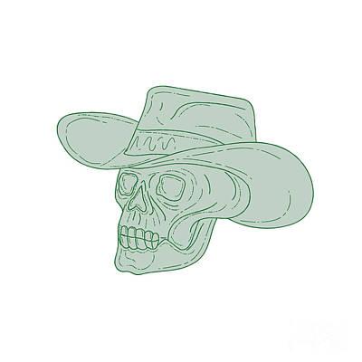 Hand Drawn Digital Art - Cowboy Skull Drawing by Aloysius Patrimonio