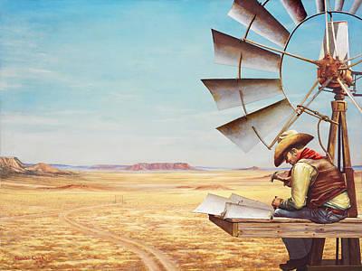 Randall Quick Painting - Cowboy Sky Scraper by Randall R Quick