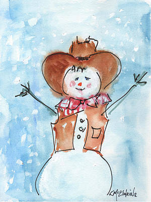 Cowboy Snowman Watercolor Painting By Kmcelwaine Art Print by Kathleen McElwaine