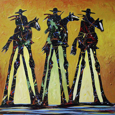 Painting - Cowboy Sundown by Lance Headlee