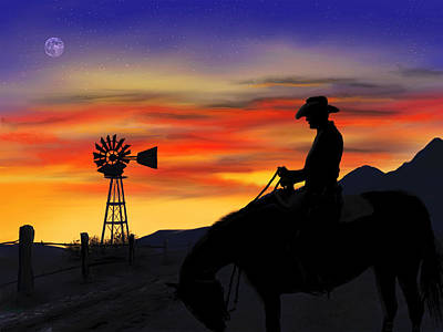 Digital Art - Cowboy Sunset by Ron Grafe