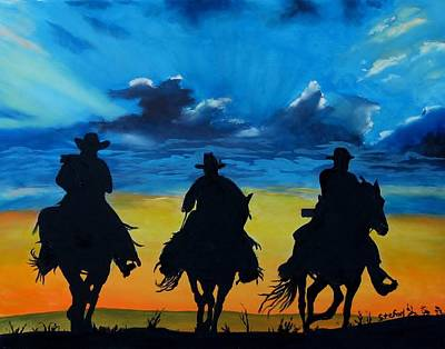 Painting - Cowboy  Sunset by Stefon Marc Brown