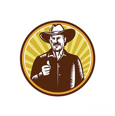 f768b0a4607 Cowboy Hat Digital Art - Cowboy Thumbs Up Sunburst Circle Woodcut by Aloysius  Patrimonio