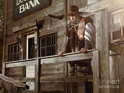 Cowboy Waiting Outside Of A Bank Building Art Print
