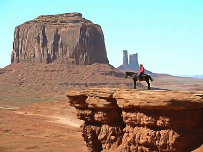 Photograph - Cowboy With A View Monument Valley by Studio Artist