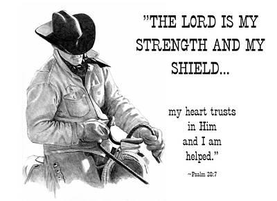 Drawing - Cowboy With Bible Verse by Joyce Geleynse