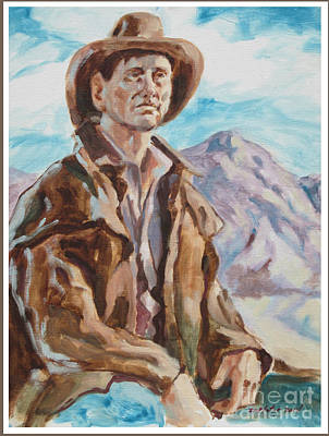 Cowboy With Mountain  Art Print