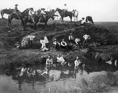 1880s Photograph - Cowboys Bathing by Granger