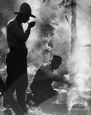 Working Cowboy Photograph - Cowboys Cooking And Smoking, C.1920s by H. Armstrong Roberts/ClassicStock