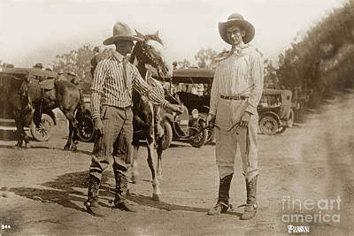 Photograph - Cowboys Horse On Right Is Sugar Plum Salinas Rodeo July 1918 by California Views Mr Pat Hathaway Archives