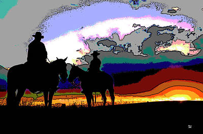 Cattle Drive Mixed Media - Cowboys In Silhouette by Charles Shoup