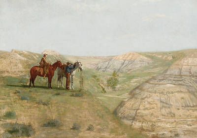 Rugged Hills Painting - Cowboys In The Badlands by Thomas Cowperthwait Eakins
