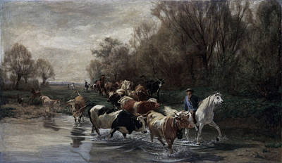 Water Way Painting - Cowboys by MotionAge Designs