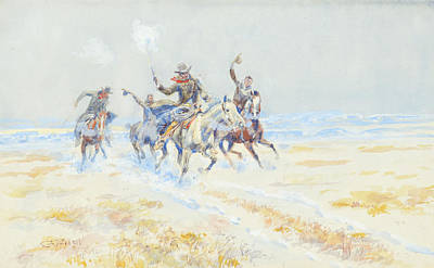 On Paper Painting - Cowboys On The Plains by Celestial Images