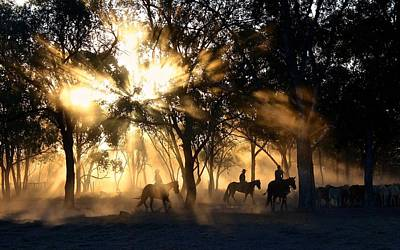 Photograph - Cowboys Riding In Sunset by Joy of Life Art Gallery