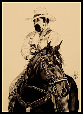 Drawing - Cowboys, Smoke And Guns by Cheryl Poland