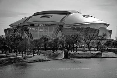 Photograph - Cowboys Stadium Landscape - Monochrome - Arlington - Dallas Texas by Gregory Ballos