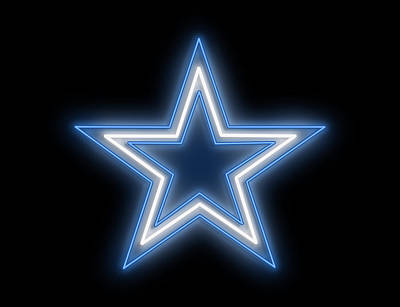 Digital Art - Cowboys Star Neon Sign by Ricky Barnard