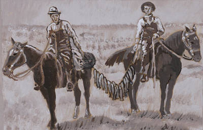 Horse Mural Painting - Cowboys With Trout Historical Vignette by Dawn Senior-Trask