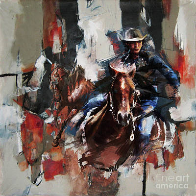 Cowgirl And Cowboy Painting - Cowgirl 87u by Gull G