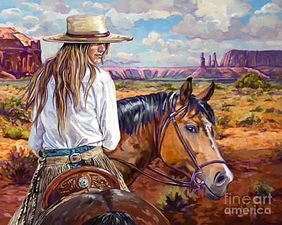 Painting - Cowgirl And Horse by Tim Gilliland