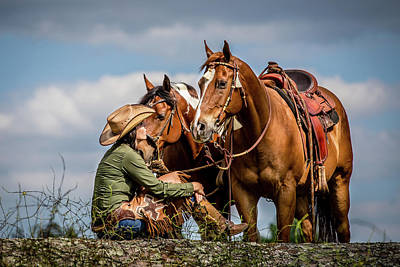 Photograph - Cowgirl And Horses by Fast Horse Photography