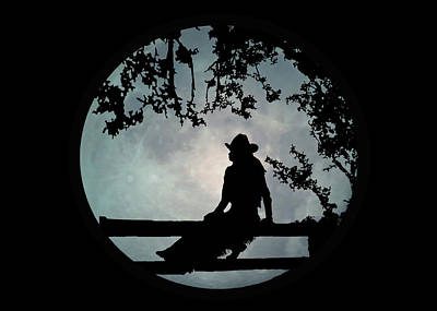 Cowgirl And Moon Art Print by Stephanie Laird