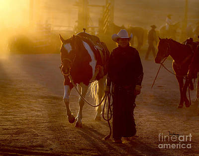 Working Cowboy Photograph - Cowgirl At Sunset by Barb Young