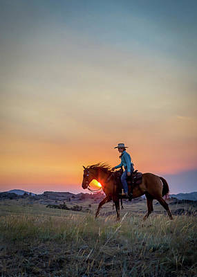 Photograph - Cowgirl At Sunset by Fast Horse Photography