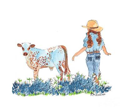 Cowgirl Calf In The Bluebonnets Pe005 Art Print