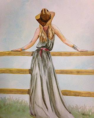 Pretty Cowgirl Painting - Cowgirl Chic by Tracy Anthony
