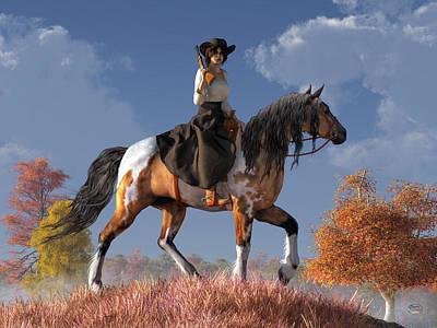 Digital Art - Cowgirl by Daniel Eskridge