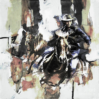 Cowgirl And Cowboy Painting - Cowgirl  by Gull G