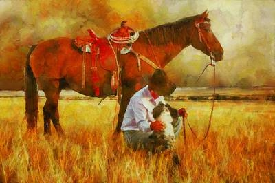 Digital Art - Cowgirl In An Autumn Field by Theresa Campbell