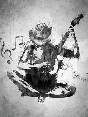 Rock And Roll Royalty-Free and Rights-Managed Images - Cowgirl in the Sand White and Black by Aged Pixel