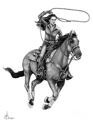 Action Drawing - Cowgirl  by Murphy Elliott