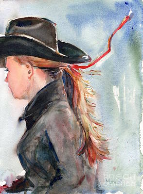 Girl Riding Horse Painting - Cowgirl Painting by Maria's Watercolor