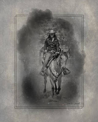 Digital Art - Cowgirl Riding In The Smoke _b1 by Walter Herrit