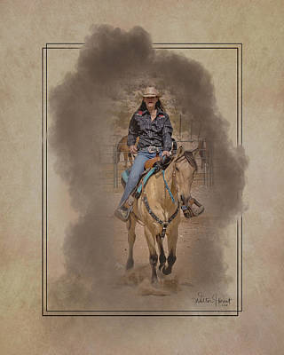 Digital Art - Cowgirl Riding In The Smoke _c3 by Walter Herrit