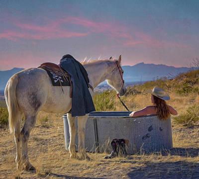 Painting - Cowgirl Spa 7op by Walter Herrit