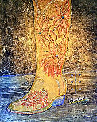 Painting - Cowgirl Western Boot by Richard W Linford