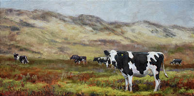 Dairy Cows Painting - Cowlifornia  by Tracie Thompson