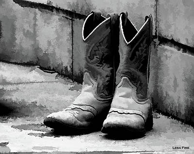 Photograph - Cowpoke Boots Bw by Lesa Fine
