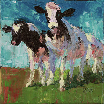Wall Art - Painting - Cows 2 by Leslie Rock