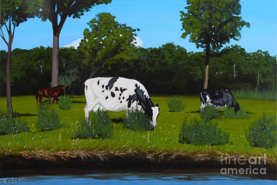 Painting - Cows Along The Unadilla by Robert Coppen