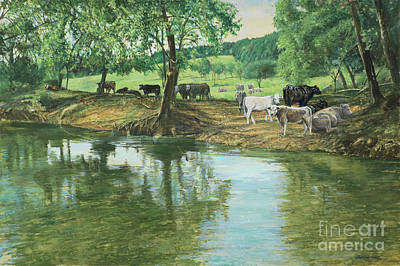 Cows And Creek Original by Don Langeneckert