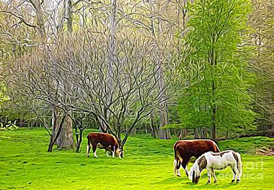 Mixed Media - Cows And Pony Grazing Expressionistic Effect by Rose Santuci-Sofranko