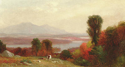 Rivers In The Fall Painting - Cows And Sheep Grazing In An Autumn River Landscape by Homer Dodge Martin