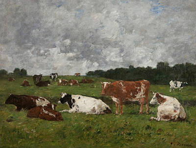 Cow Painting - Cows At The Pasture by Eugene Louis Boudin